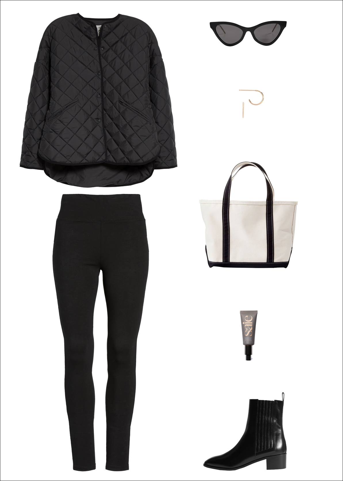 A Stylish Yet Comfortable Outfit for Running Errands — Fall Weekend Look With a Toteme Quilted Jacket, Cat-Eye Sunglasses, Small Hoop Earrings, L.L. Bean Tote Bag, Black Leggings, Saie Tinted Moisturizer and Aeyde Chelsea Boots