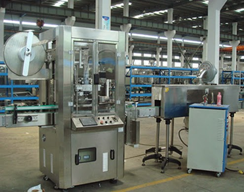 sleeve shrink labeller water milk bottles plastic Jars Automated machine for shrinking labeling
