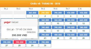 Bảng giá vé máy bay từ Đà Lạt tháng 6