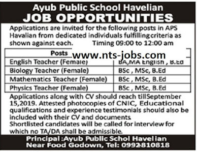 Army Public School Havelian Jobs 2019 for Teachers Latest
