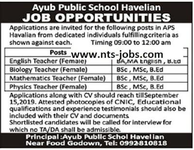 Army Public School Havelian Jobs 2019 for Teachers Latest