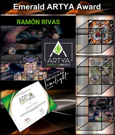 Obras de Ramón Rivas y Certificado del Premio EMERALD ARTYA 2021