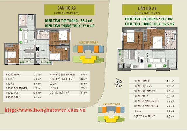 Mặt bằng thiết kế căn hộ A3 và A4, Hồng Hà Tower
