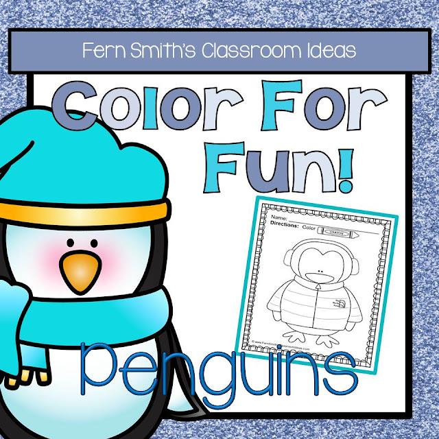 Fern Smith's Classroom Ideas Penguin Fun! Color For Fun Penguin Printable Coloring Pages at TeacherspayTeachers, TpT.