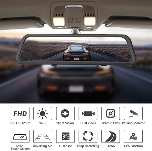 WOLFBOX Touch Screen Mirror Dash Cam for Cars