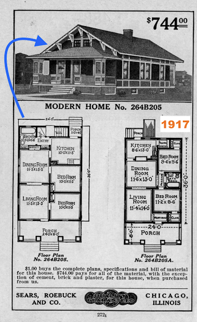 black and white catalog image of Sears Winona 1917 Daily Bungalow