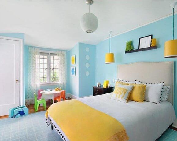 Desain Ruang kamar rumah minimalis sederhana Warna Cat Biru