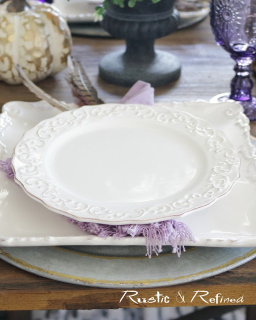 Fall table setting using white dishes