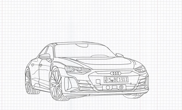 How to Draw Audi e-tron GT quattro 2022 Step by Step