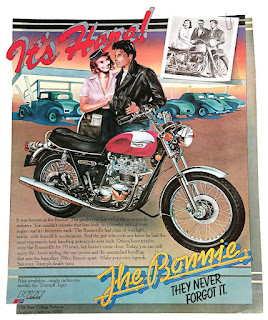 1976 ad with Bonneville, teen rider and girl.