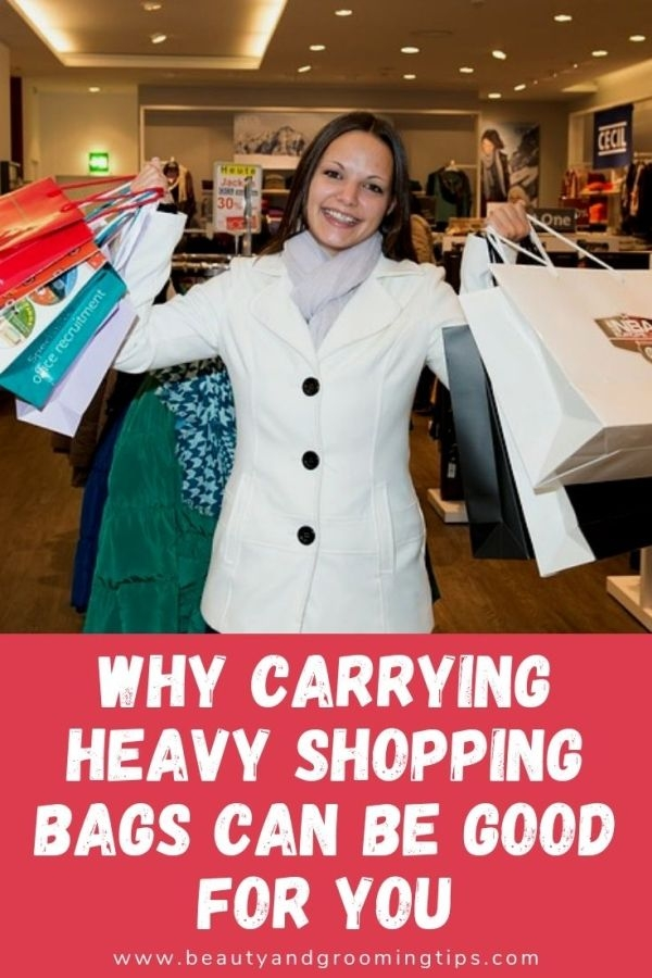 woman carrying too many shopping bags