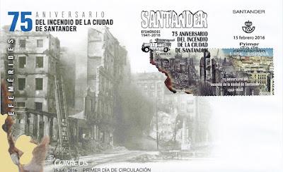 Sobre primer día de circulación del sello del 75 aniversario del incendio de Santander