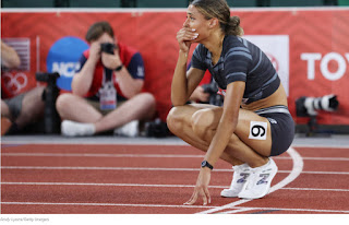 Image of Sydney McLaughlin after qualifying for the Olympics