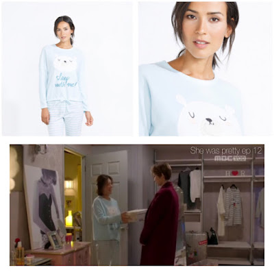 She was pretty (그녀는 예뻤다) Korean drama tv series Women' secret baby blue pyjama with white bear and striped pants Hwang jung eum (Kim Hye Jin)