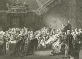 "Engraving of Copley's ""Death of the Earl of Chatham"""