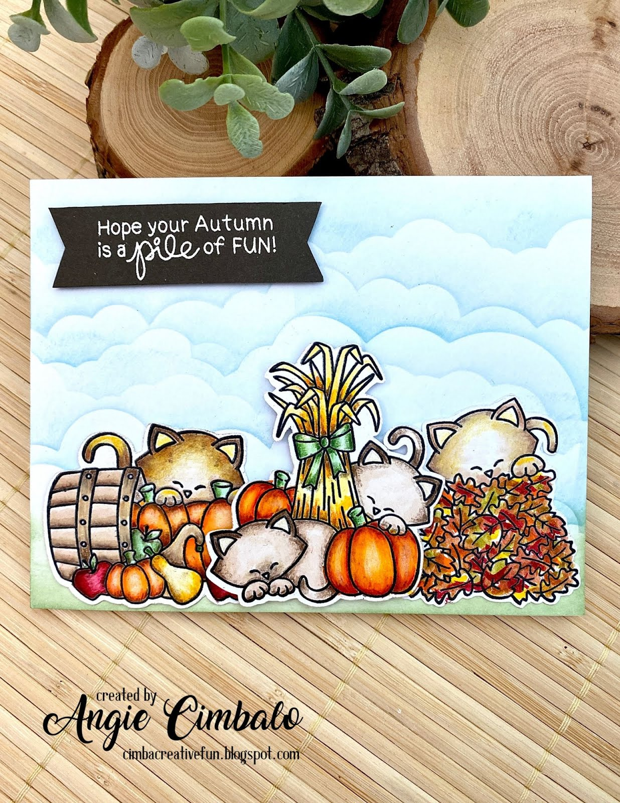 Fall Themed Cat Card by August Guest Designer Angie Cimbalo | Autumn Newton Stamp Set and  Clouds Stencil by Newton's Nook Designs  #newtonsnook #handmade