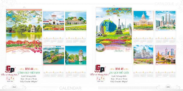 Mẫu lịch nẹp thiếc 5 tờ - Cảnh đẹp Việt Nam (ảnh 1) &  Du lịch thế giới (ảnh 2)