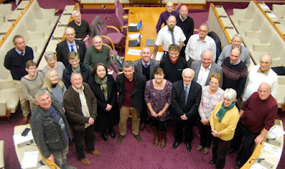 Cllr Rob Waltham (centre), of Brigg, with members of North Lincolnshire Council's winter service team, Snow Wardens and other representatives from town and parish councils at a meeting at Scunthorpe Civic Centre. Picture courtesy of North Lincolnshire Council, November 2018, used on Nigel Fisher's Brigg Blog