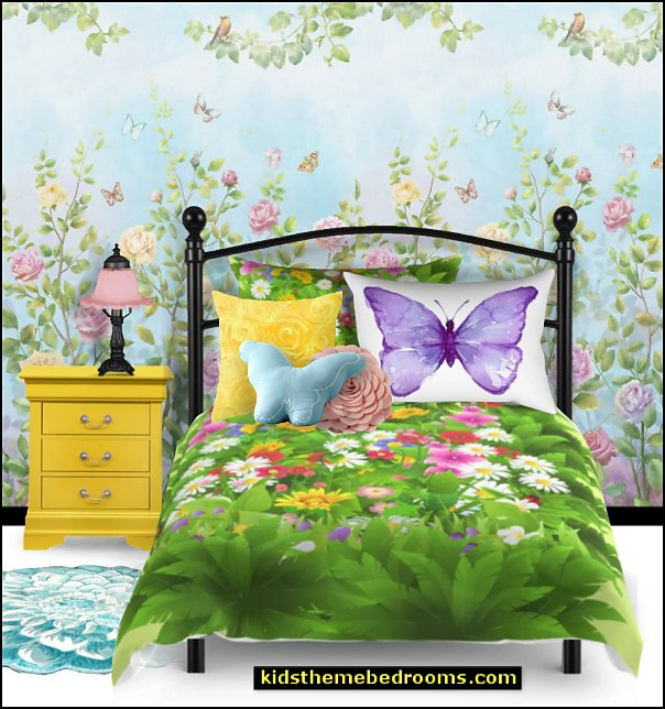 springtime butterfly garden bedrooms victorian table lamp floral bedding butterfly pillows yellow nightstand flower wallpaper mural flower area rug
