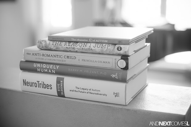Stack of autism books