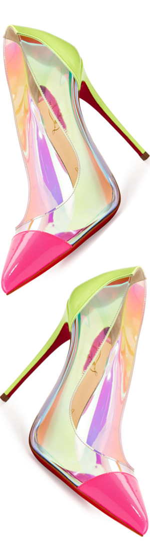 Christian Louboutin Debout Patent/PVC Red Sole Pump