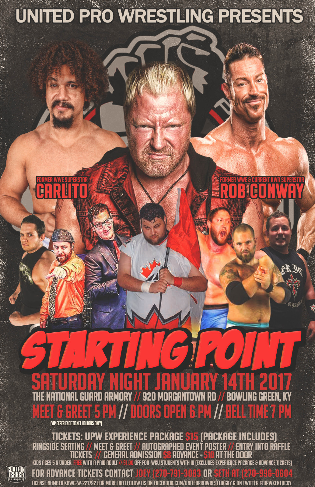 Upw starting point sat 1142017 in bowling green ky wrestling due to circumstances beyond our control adam rose will not be appearing at upw starting point also due to last minute tna obligations rockstar spud will m4hsunfo