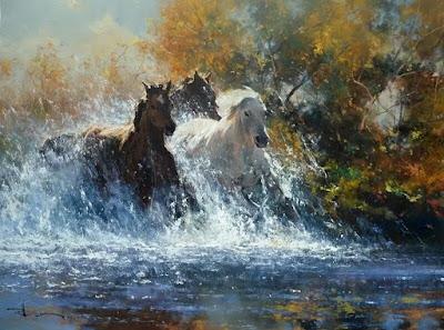 caballos corriendo en el agua pintura al oleo