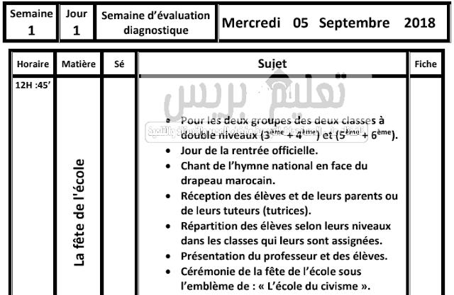 مذكرة يومية معبأة بالفرنسية لأسابيع فترة التقويم التشخيصي