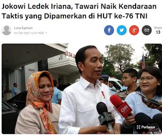 Jokowi Ledek Iriana, Tawari Naik Kendaraan Taktis yang Dipamerkan di HUT ke-76 TNI
