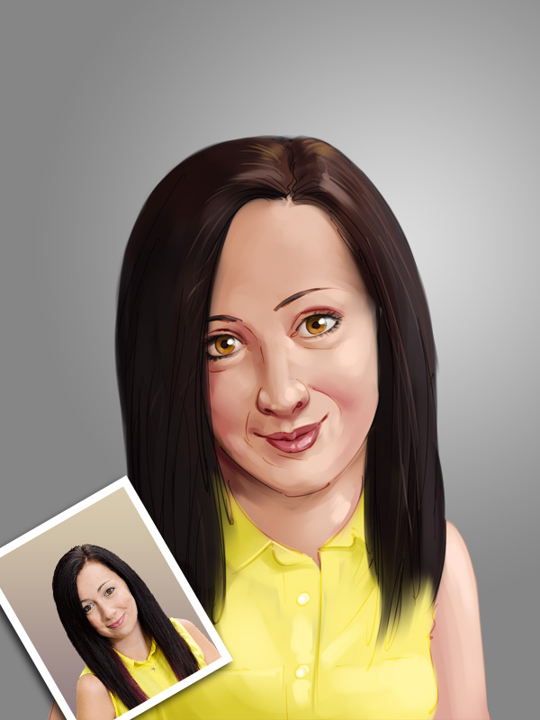 professional female caricature digital painting