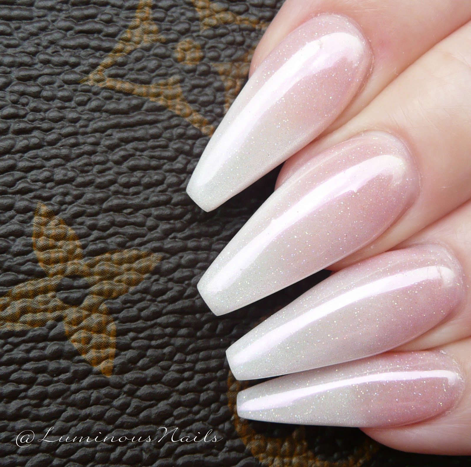 Luminous Nails: Stunning Pearly Ombre Chrome, Acrylic Nails.