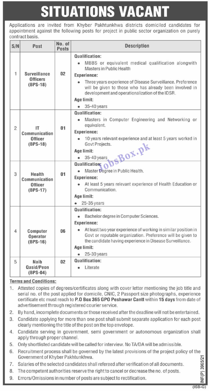 Public Sector Organization KPK Jobs – PO Box 365 Peshawar Jobs 2021