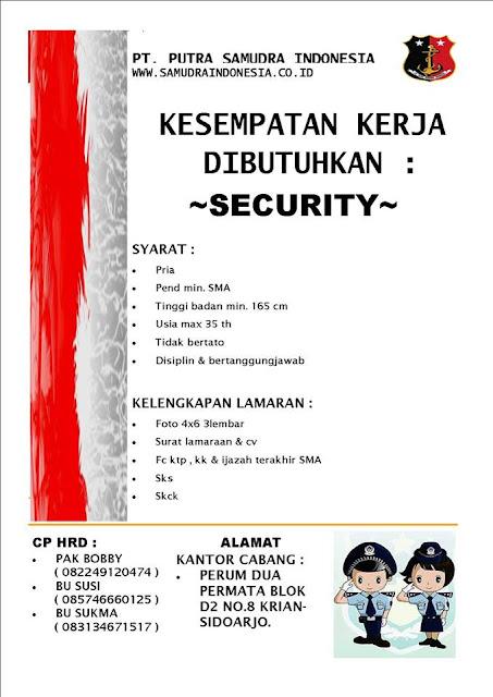 lowongan kerja security PT Putra samudra indonesia