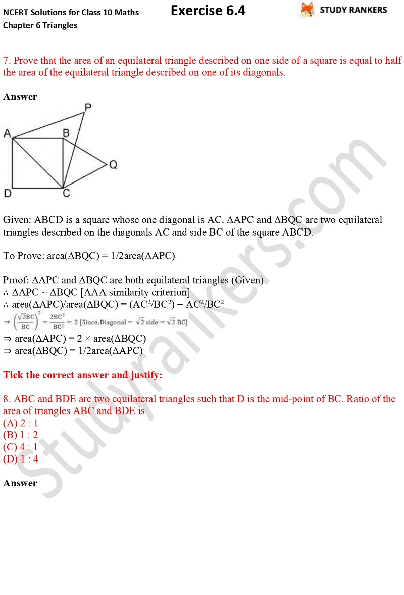 NCERT Solutions for Class 10 Maths Chapter 6 Triangles Exercise 6.4 Part 5