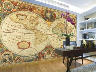 Tapet världskarta fototapet gammal karta antik