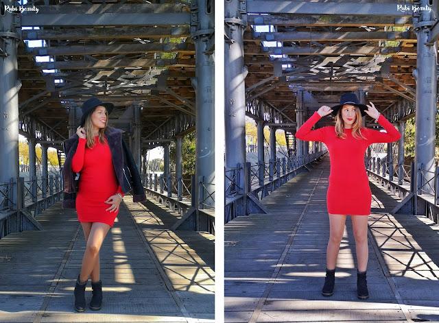 outfit combinar un vestido rojo con sombrero zara