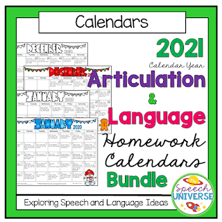 A full years worth of speech and language calendars. These calendars target both language skills and articulation skills.