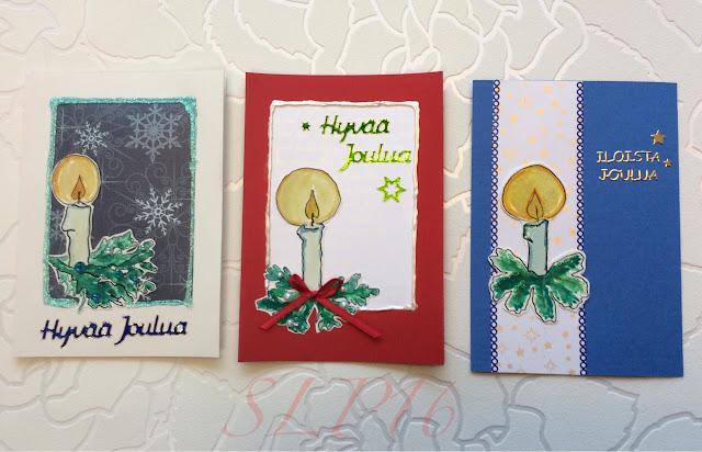 vesiväri kynttilä joulukortti