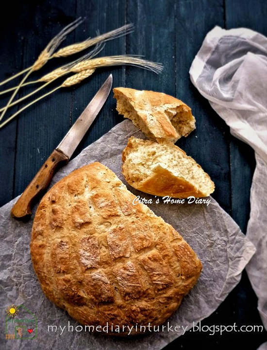 EASY  AND TASTY NO KNEAD ARTISAN BREAD | Çitra's Home Diary. #artisanbread #homemadebaking #homemadebread #nokneadbread #reseprotitanpaulen #easybreadrecipe