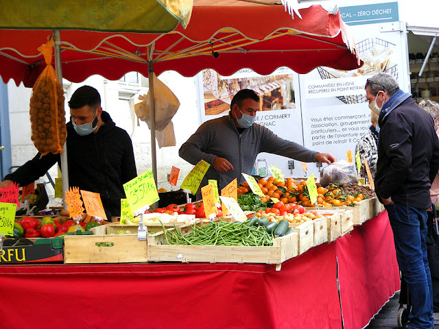 Fruit and vegetable stall, Loches market. Indre et Loire. France. Photo by Loire Valley Time Travel.