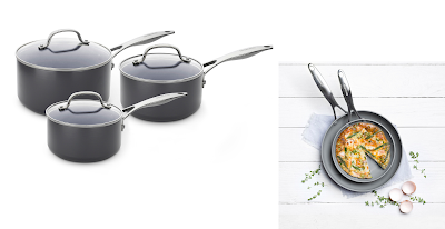 A collage featuring three black saucepans with glass lids and a frying pan containing an omelette