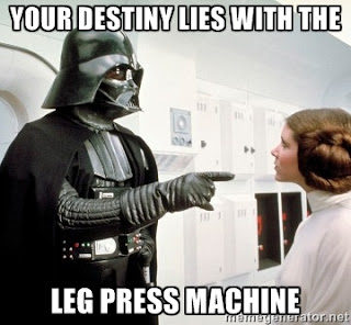 Star Wars Darth Vader tells Princess Leia her destiny lies with the leg press machine.