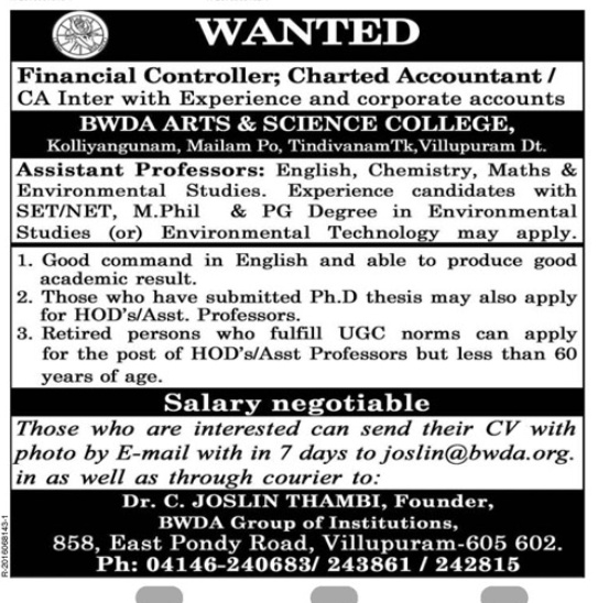 bwda arts and science college wanted assistant professor