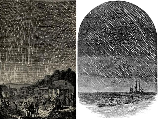 antigas gravuras da chuva de meteoros Leonidas - edward dunkin e Adolph Vollmy