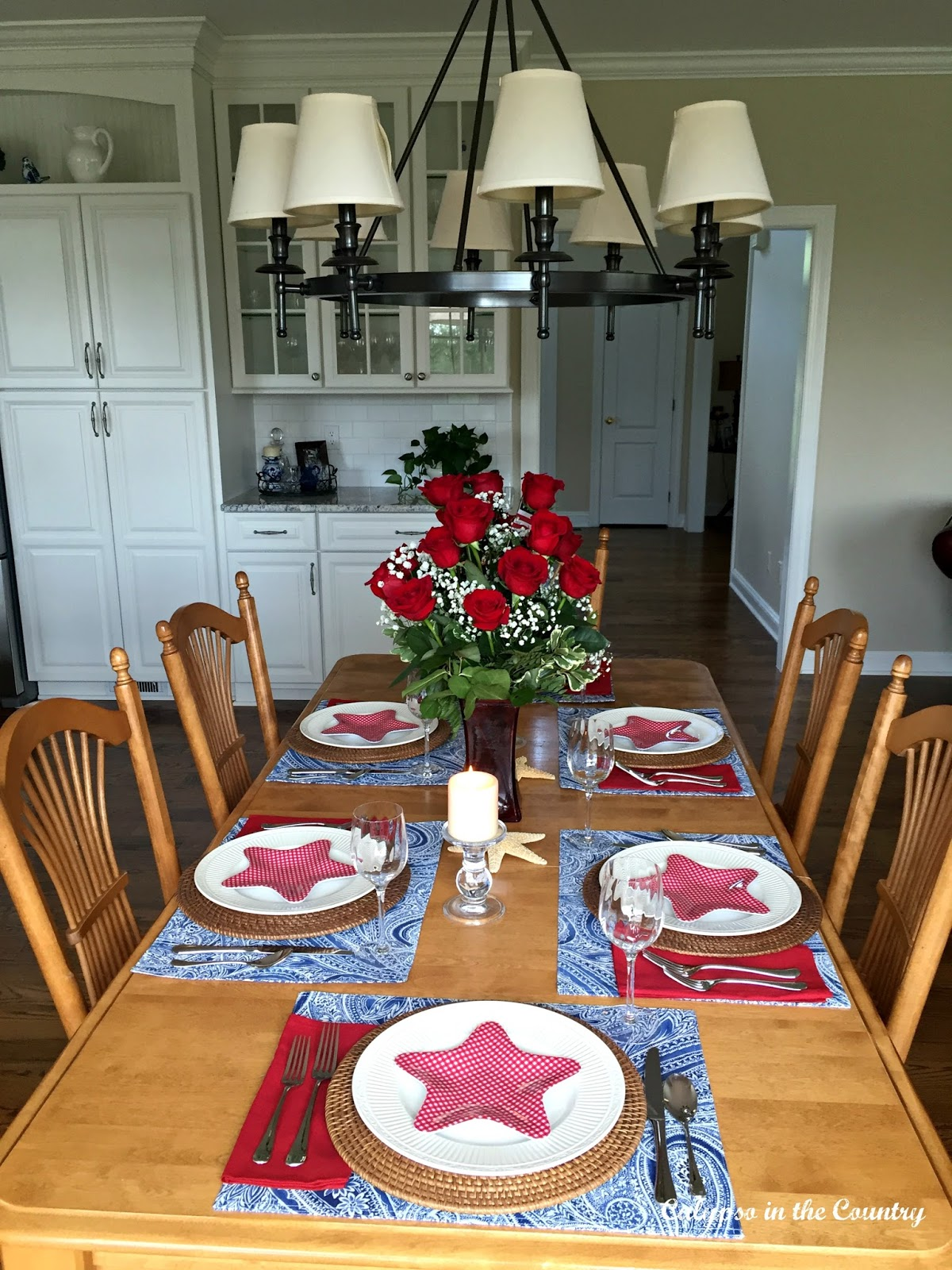 calypso in the country patriotic table setting in the kitchen