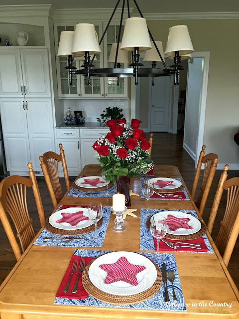 Summer Table with Red, White and Blue for the 4th