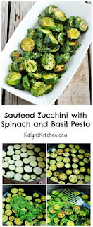 Sauteed Zucchini with Spinach and Basil Pesto [from KalynsKitchen.com]