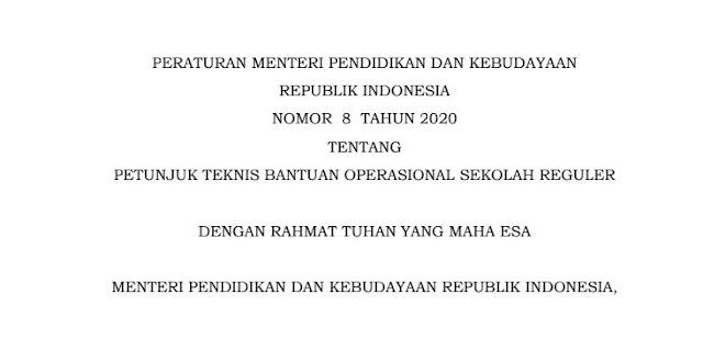 Juknis BOS Tahun 2020 Permendikbud No 8 Tahun 2020