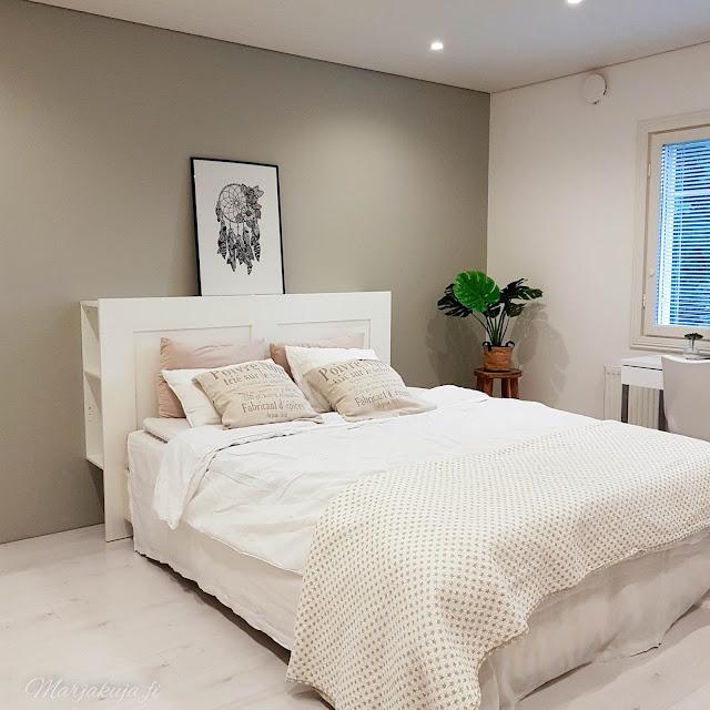 makuuhuone remontti maali coloria laminaatti christal white jotex sänky