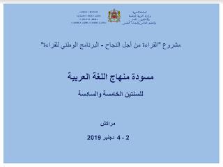 مسودة منهاج اللغة العربية للسنتين الخامسة والسادسة